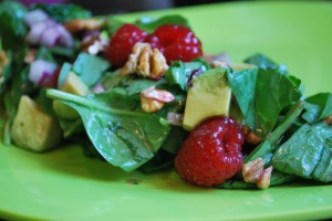 Tossed Salad with Raspberry Vinaigrette Dressing