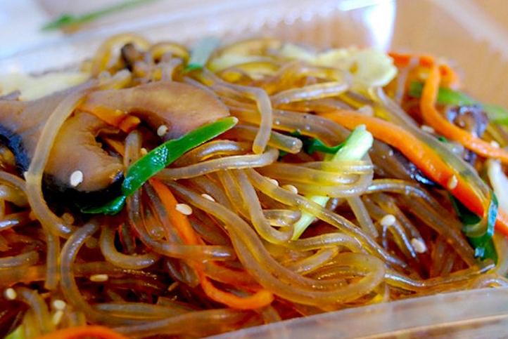 Korean starch noodles Japchae style