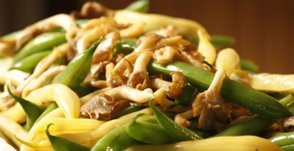 wild mushroom and ginger green beans