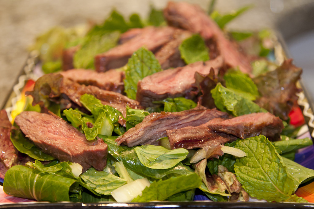 steak salad mint bok choy