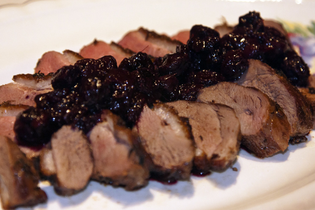 Seared Duck with Blueberry Chutney