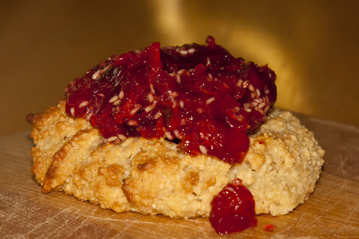 watermelon berry jam on almond flour scone