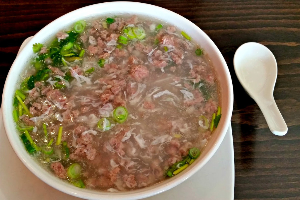 Larb grass-fed beef, bone broth, and cilantro soup