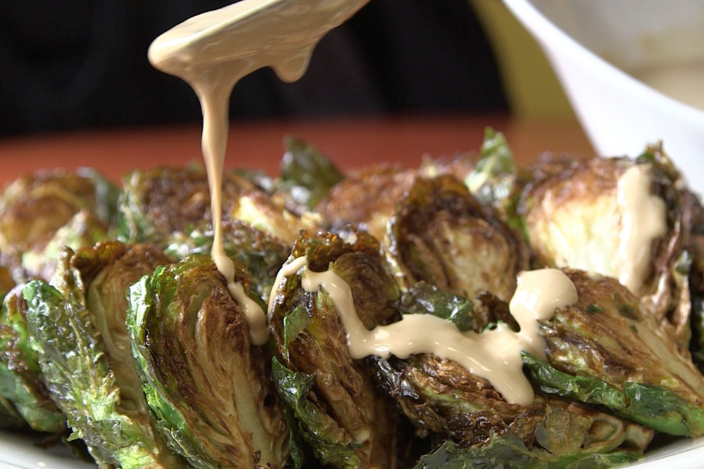 Brussels sprouts with probiotic tahini sauce